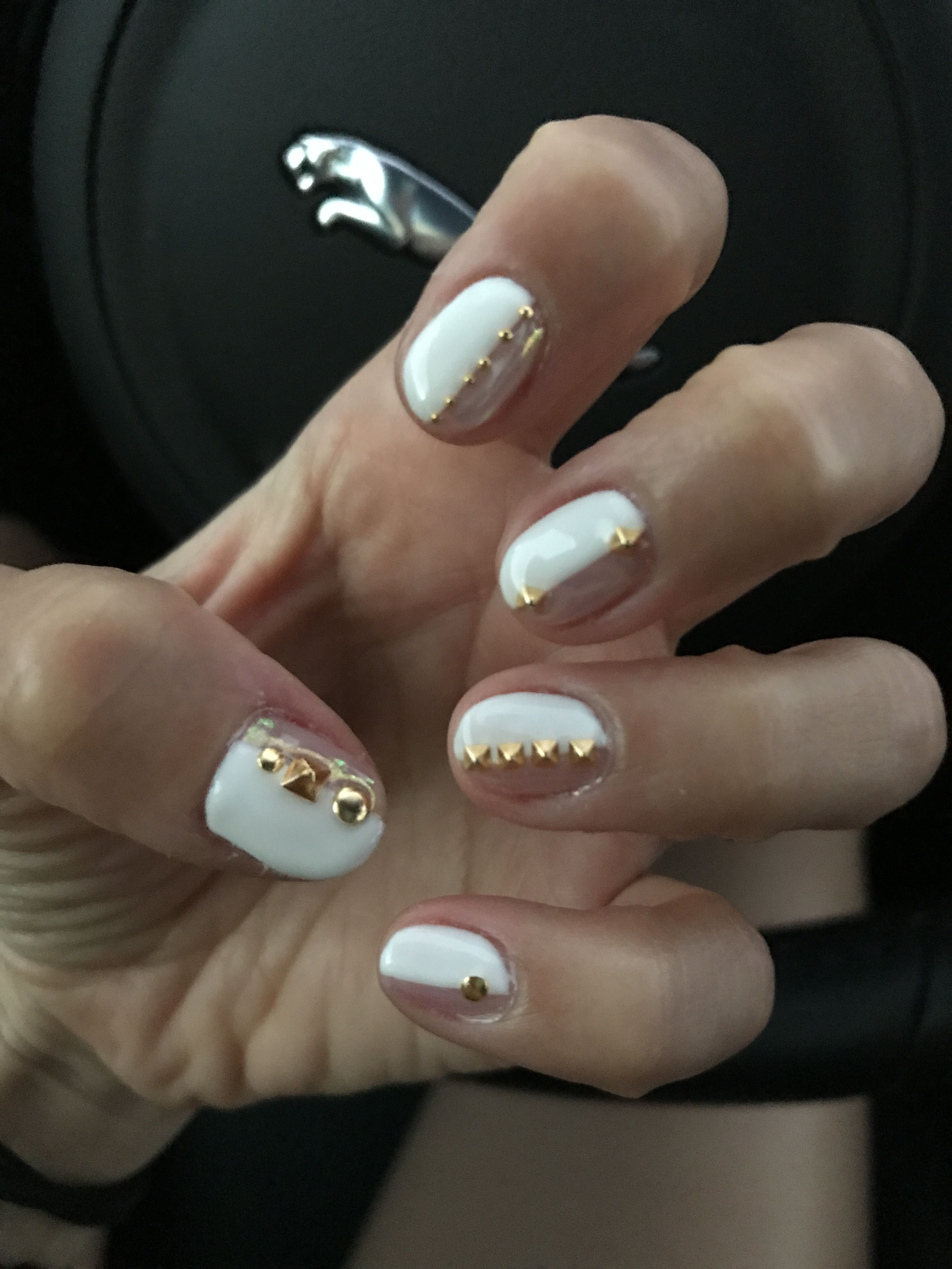 Half and half studded nails white gel nail design with beige half and half studded nails white gel nail design with beige chrome powder and gold prinsesfo Choice Image
