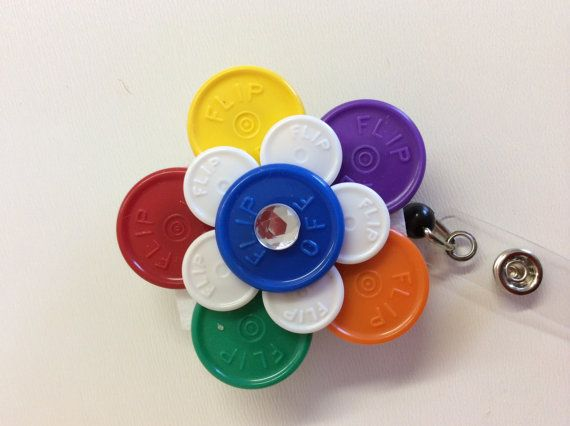 Medicine  flip off vial caps /Flower design ID badge by KrisMark55, $5.00
