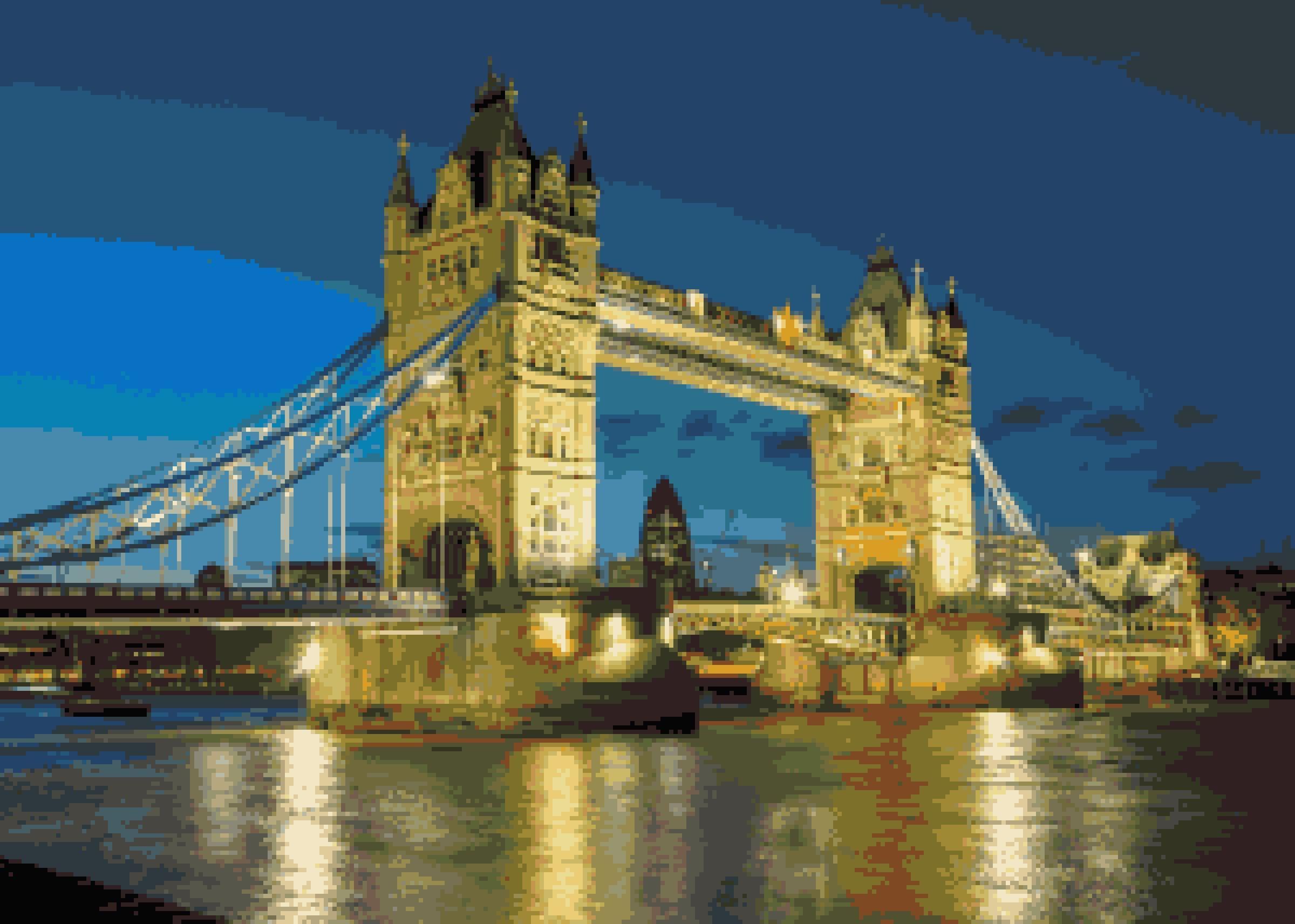 London Bridge At Night Cross Stitch Pattern Landmark Reflections Pixel Art Image British Scenic Bridges Cr Cross Stitch Patterns Cross Stitch Scenic Bridges Tower bridge night reflections london hd