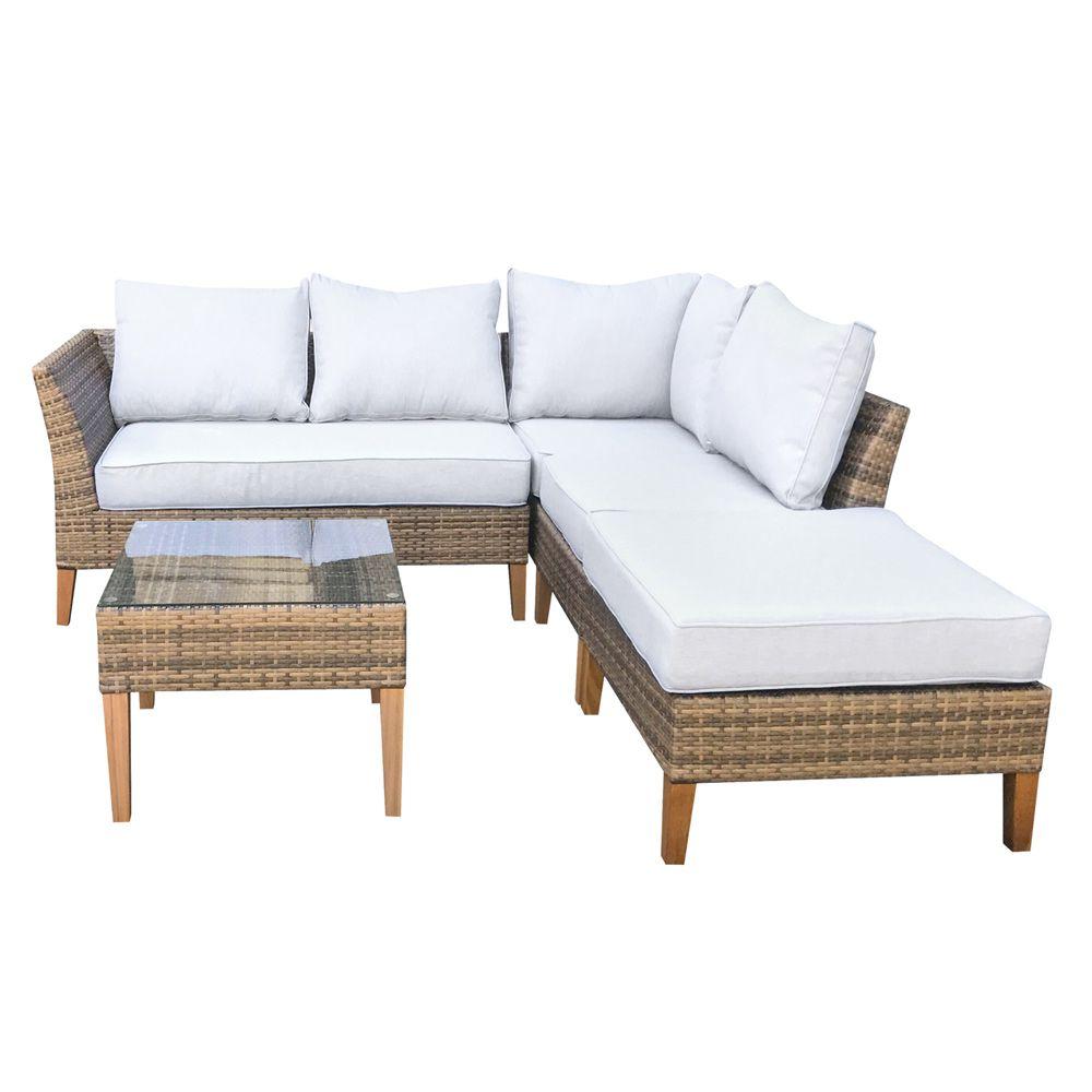 Buy Luxo Bayley Pe Wicker Outdoor Sofa Setting With Teak Legs Online Australia Outdoor Furniture Sofa Outdoor Wicker Furniture Outdoor Sofa Sets