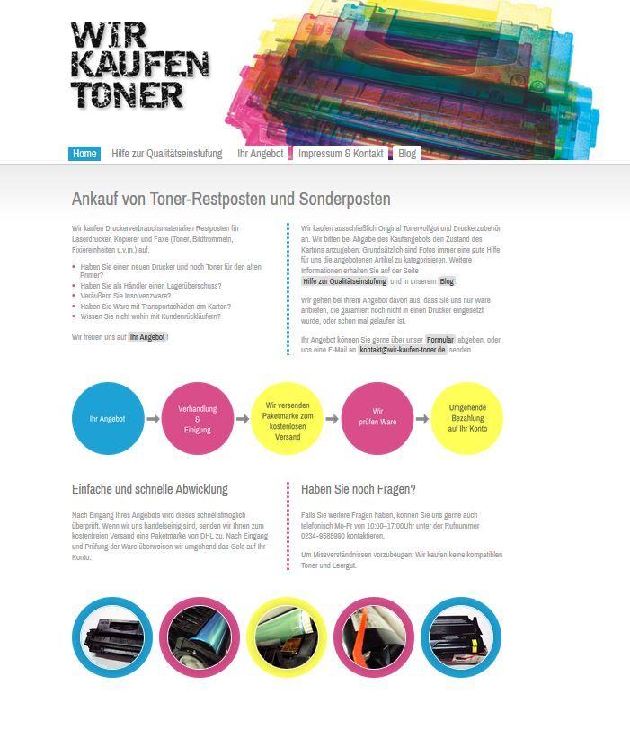 Die neue Startseite von http://www.wir-kaufen-toner.de