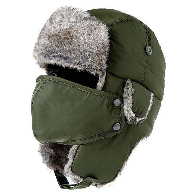 Womens Trapper Hat Faux Fur Aviator Hat with Ear Flaps Russian Mens Winter  Cold Weather Hat 944b66bf650