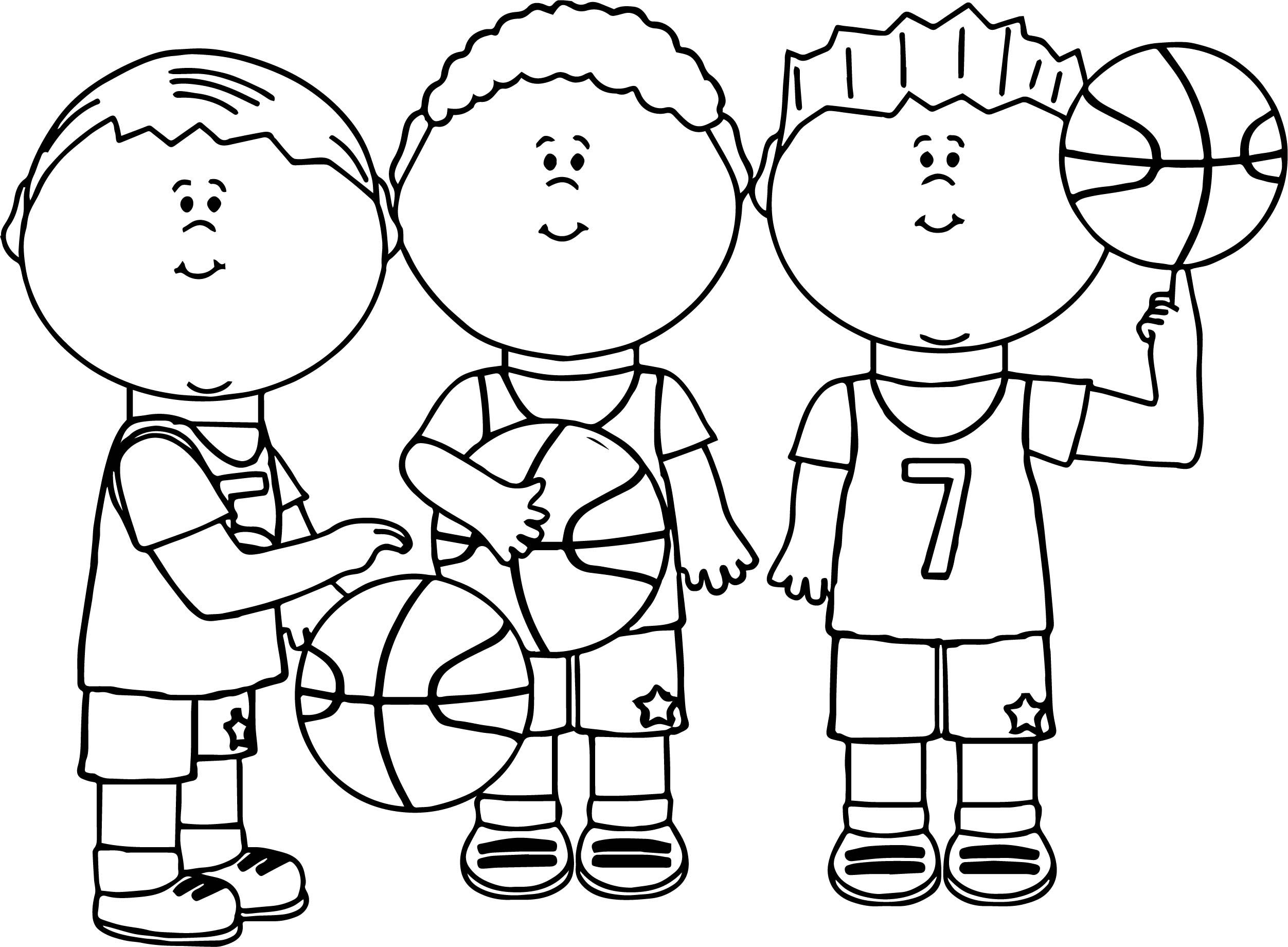 Nice Friends Playing Basketball Coloring Page