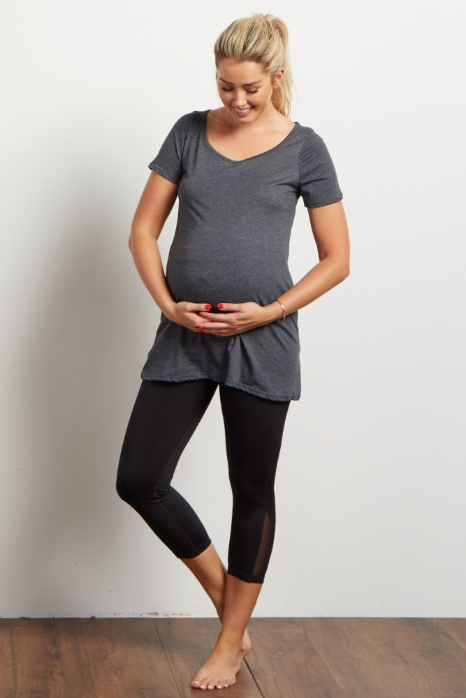 0b4cb144be7df Black Mesh Accent Cropped Active Maternity Leggings | Maternity ...