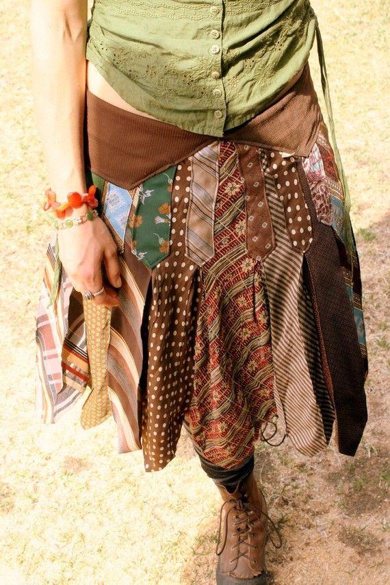 Knee length folk kilt from vintage neckties | DIY Recycling: Necktie ...