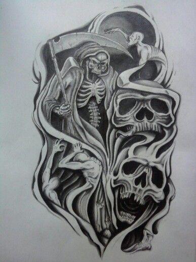Grim Reaper And Skulls Half Sleeve Tattoos Sketches Skull Sleeve Tattoos Tattoo Sleeve Designs