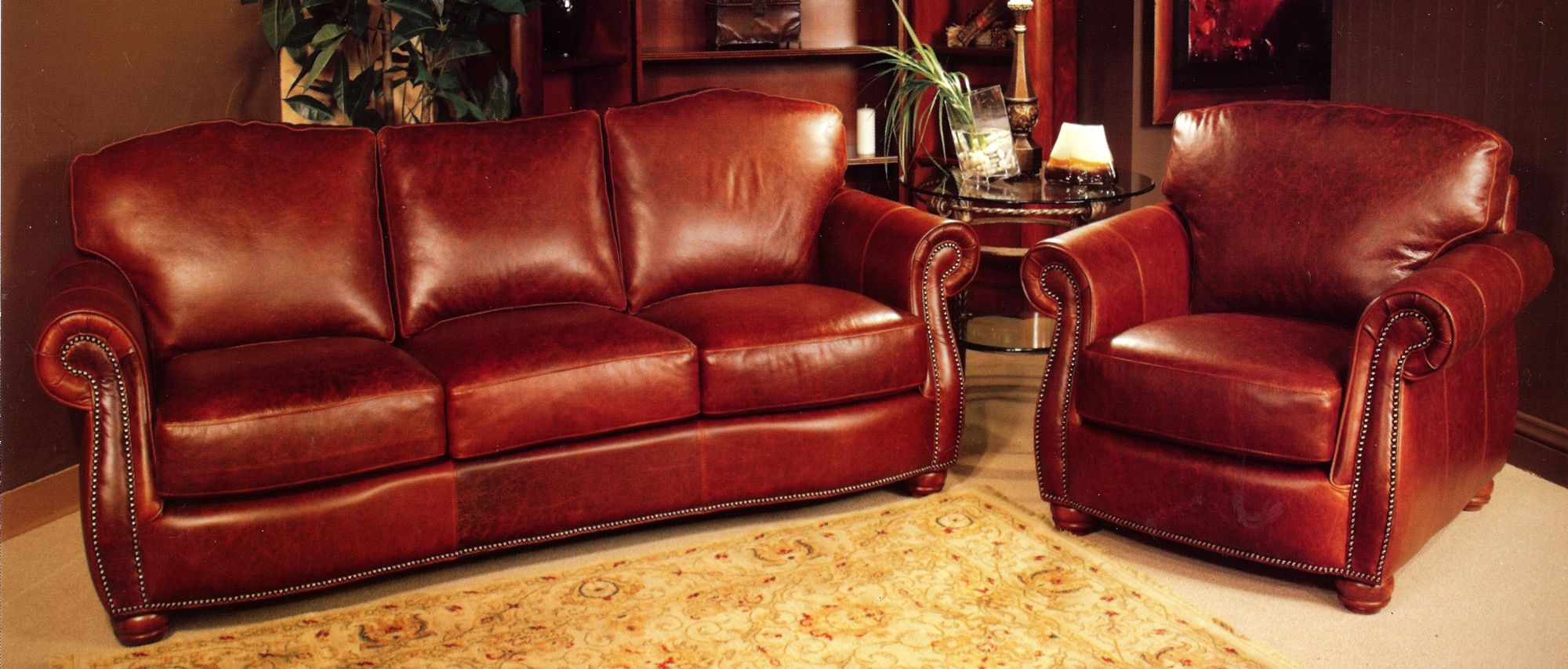 Rustic Red Leather Sofa And Rustic Red Leather Chair With Rustic Nail Head  Trim