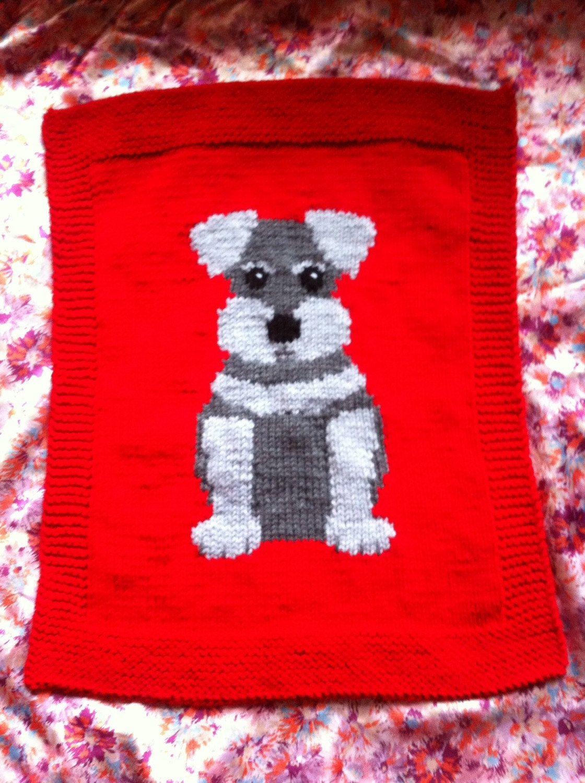 Schnauzer Puppy Pram Cover/Comfort Blanket chunky knitting pattern ...