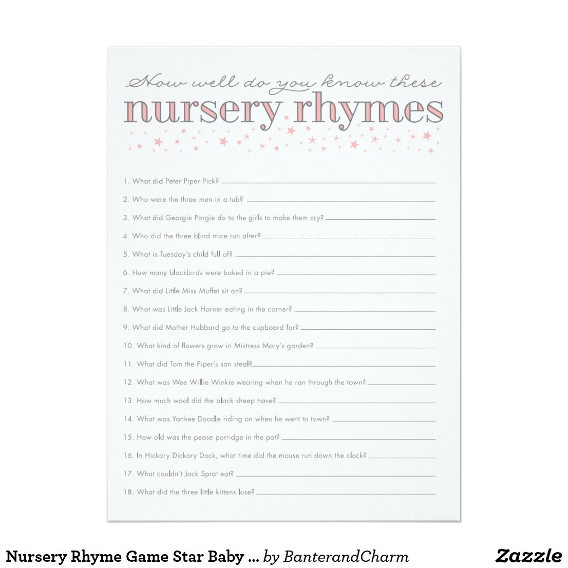 Nursery Rhyme Game Star Baby Shower Game Card Test Your Baby Shower Guestsu0027  Knowledge Of