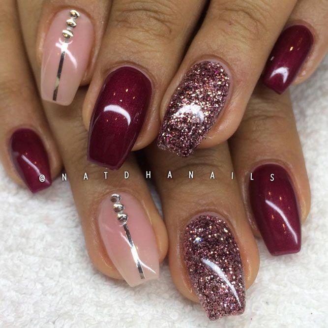 newest burgundy nails design