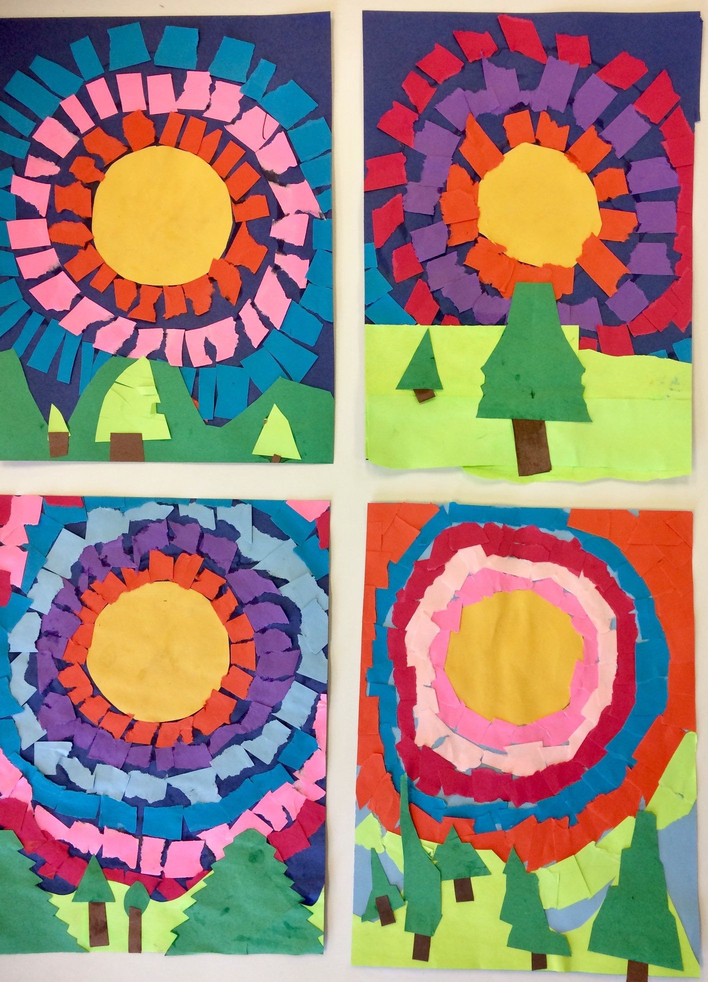 Collage idea - art project for kids, sun and landscape ...