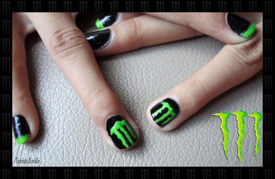 Monster Energy Nail Art By Tsxwife Deviantart On
