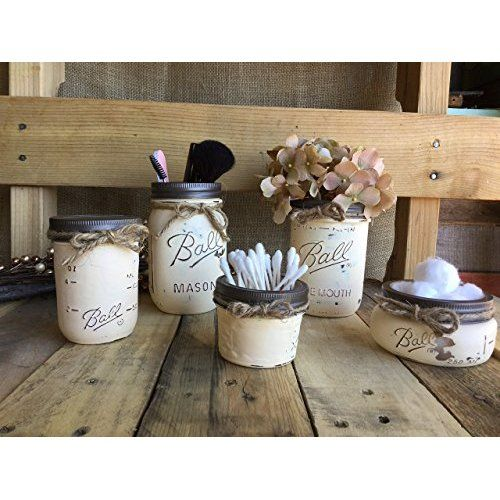 Mason Canning Jars in Wood DRAWER with 3 Jar Rustic Distressed Centerpiece