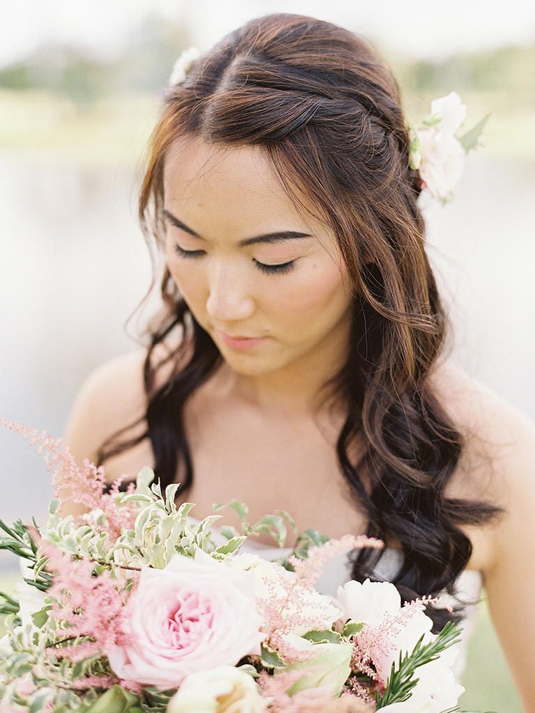 15 half-up wedding hairstyles for long hair   wedding