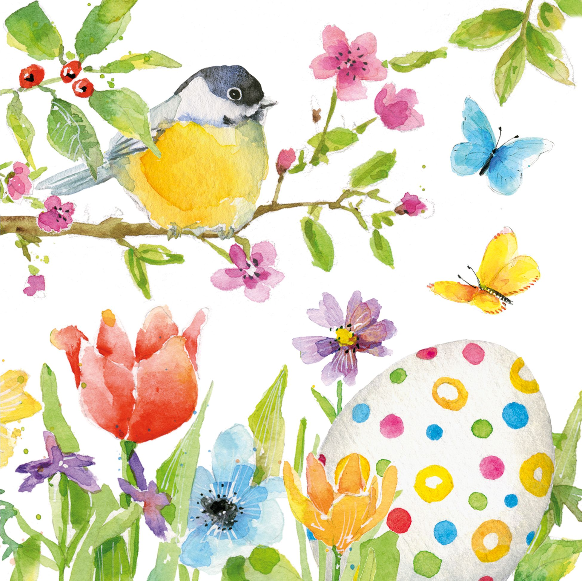 4 lose Servietten Vogel mit Blumen und Schmetterling