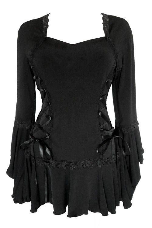 2483eb413c6 RENAISSANCE Gothic Victorian Peasant BOLERO Corset Top BLACK Size 16 ...