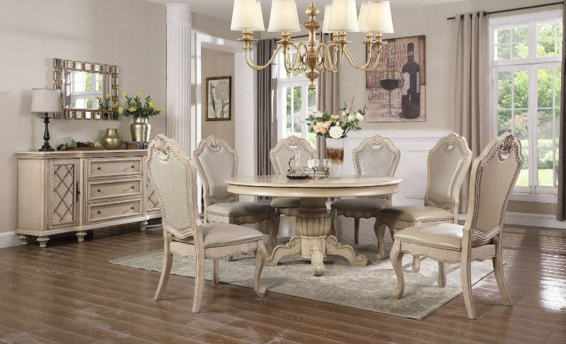 Mc Ferran Mf D3501 6060 5pc 5 Pc Chester Ii Antique White Finish Wood 60 Round Dining Table Set Round Back Dining Chairs Round Dining Table Sets 60 Round Dining