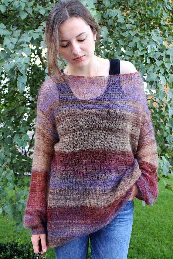 2b7910cabfbc Loose knit mohair sweater Oversized grunge sweater dress Long ...