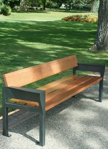 contemporary public bench in wood and metal (with backrest) GARDEN B15 univers  cité