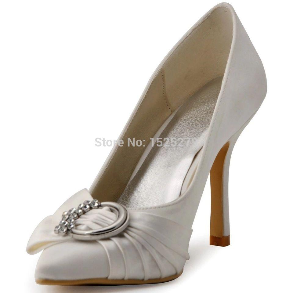 Diamante De Satin Noir Légèrement Bout Pointu Chaussures De Mariage fiRSMtgW3o