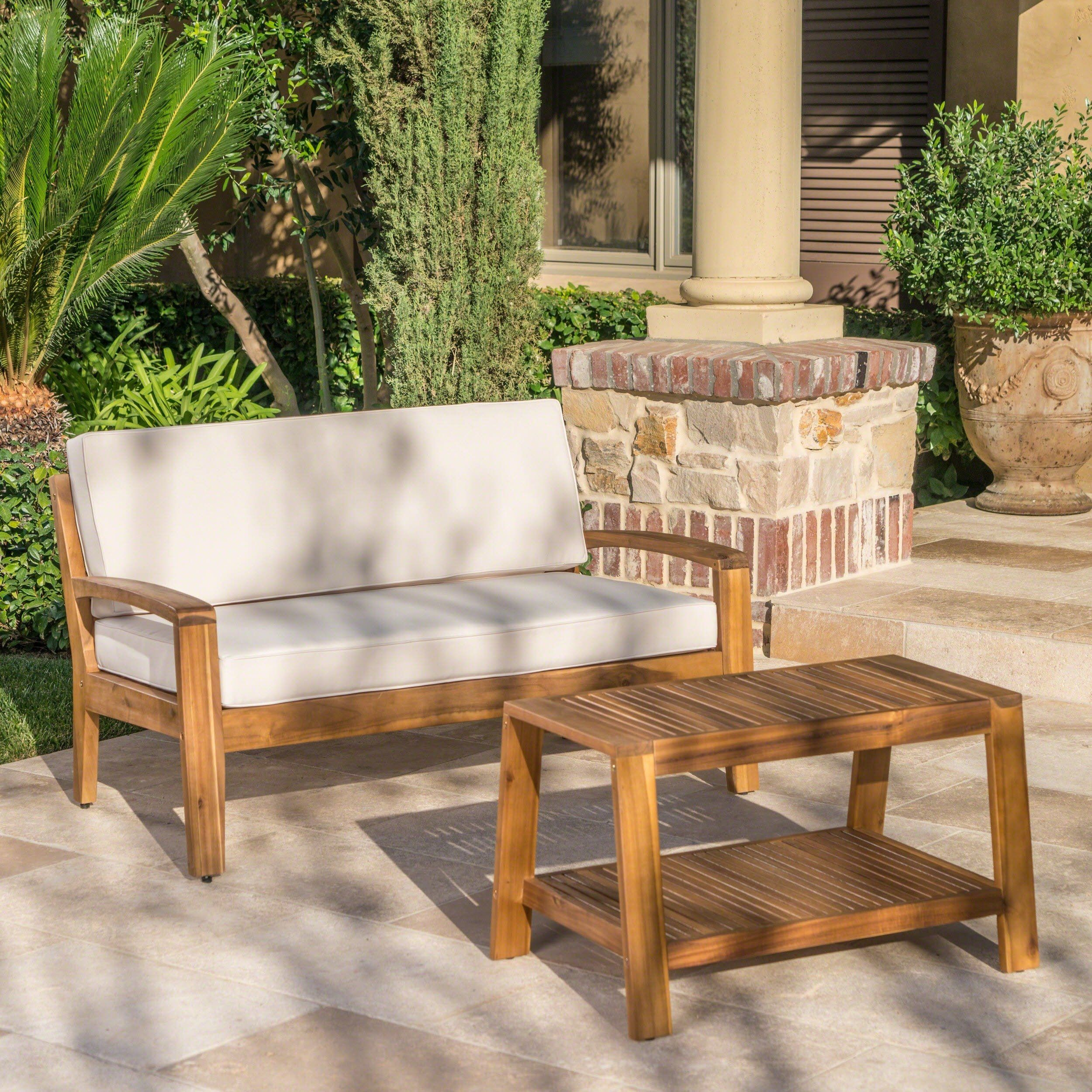 Grenada outdoor 2piece acacia wood loveseat and coffee