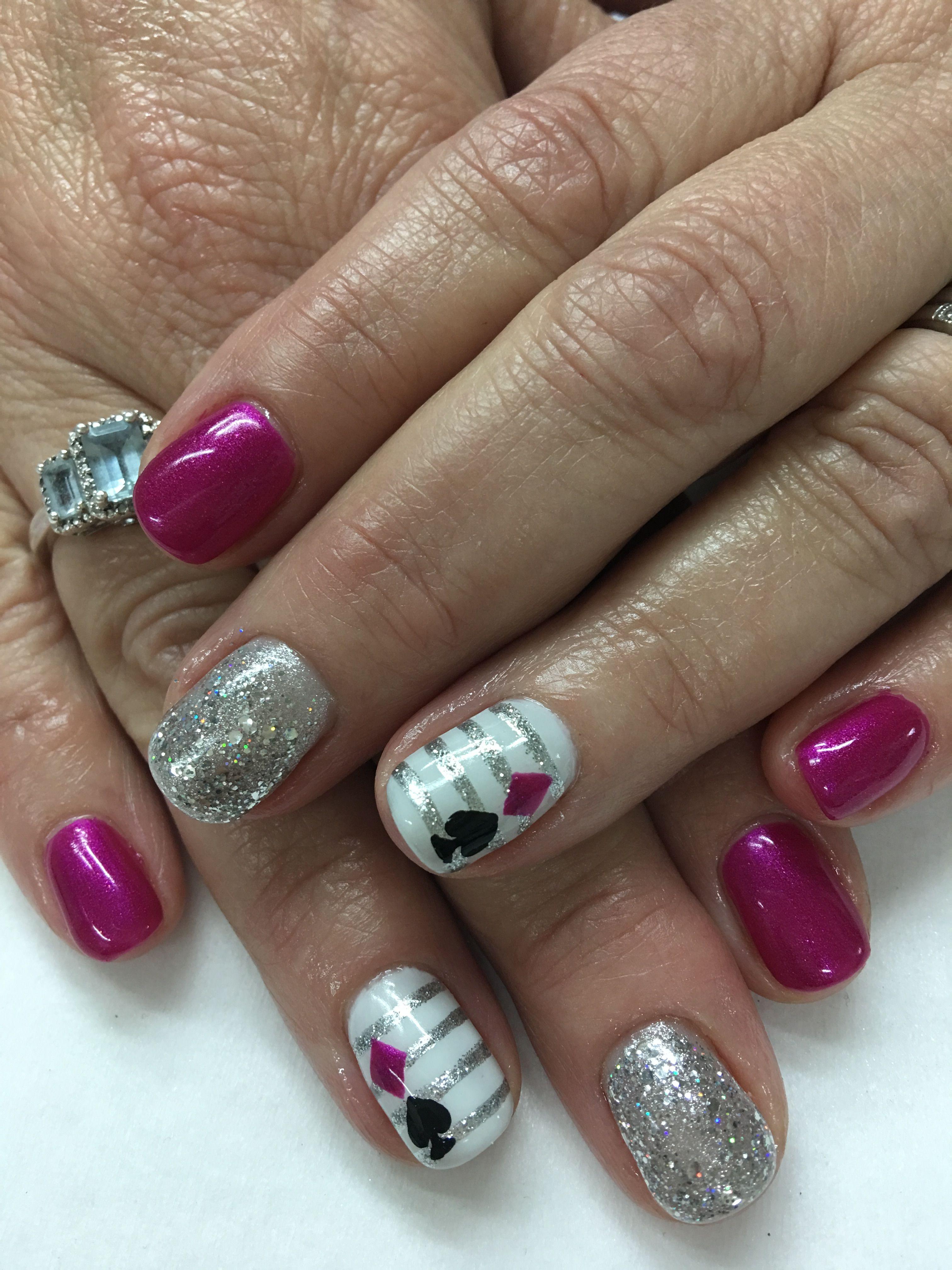 Vegas Fuchsia Silver Glitter White Striped hand paint Spade ...
