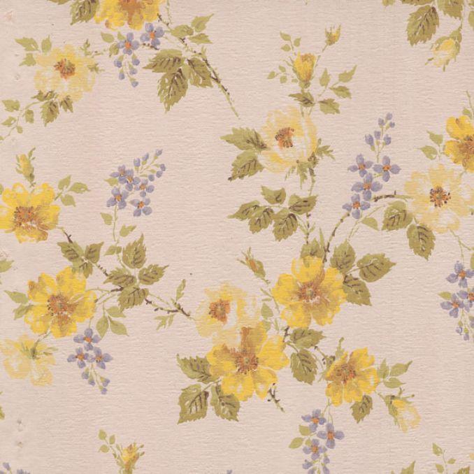 Floral vintage wallpaper yellow flowers astek inc