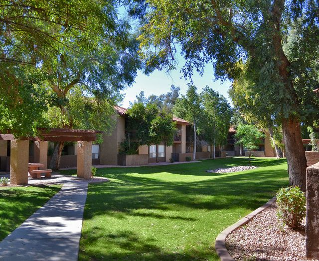 Go for a stroll around your new apartment complex. Aztec Springs Apartments - Mesa, AZ.