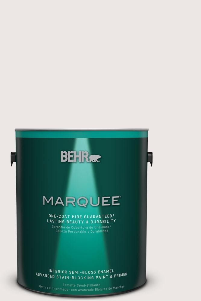 Behr marquee 1 gal mq3 32 cameo white semi gloss enamel one coat hide interior paint and for Behr interior paint and primer in one