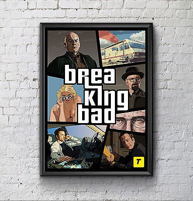Breaking bad gta #style #poster #print.a3 or a4. framed or unframed ...