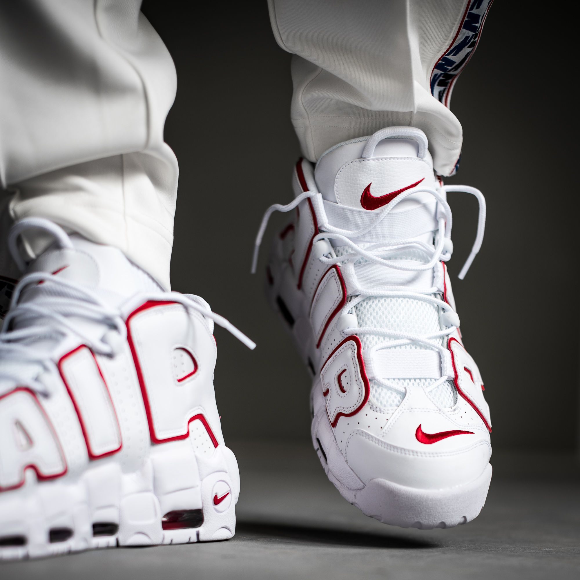d6e9a9472ad Make yourself ready for a White Varsity Red-White version of the famous NIKE  AIR MORE UPTEMPO  96. Soon available on kickz.com!