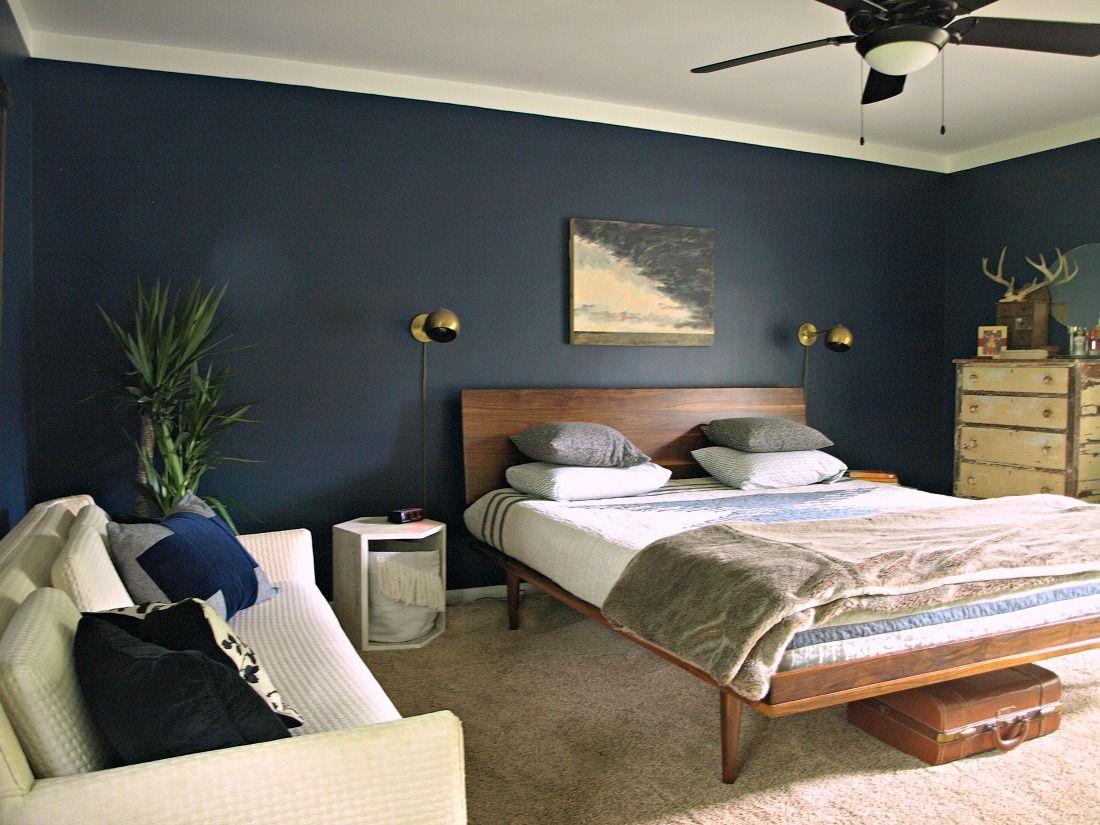 Master Bedroom Reveal Blue bedroom walls, Dark blue