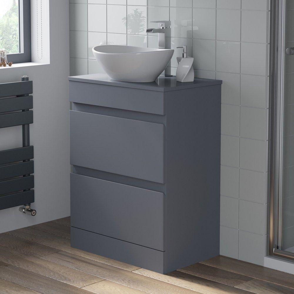 Artis Grey Gloss Floor Standing Drawer Vanity Unit With Affine Roubaix Countertop Basin 600mm Width Bathroom Vanity Units Bathroom Design Luxury Vanity Units
