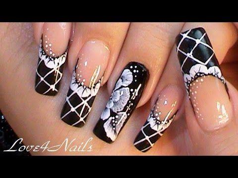 black lace gala nail art design tutorial  youtube  uñas