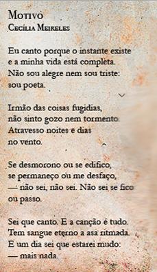 Poema Motivo De Cecília Meireles Fagner Poetas Por Natureza