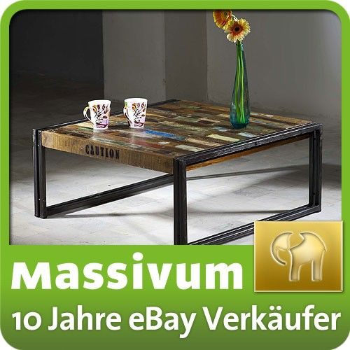 couchtisch 80x80 antik holz massiv metall designer industrie m bel neu quebec ebay tische. Black Bedroom Furniture Sets. Home Design Ideas