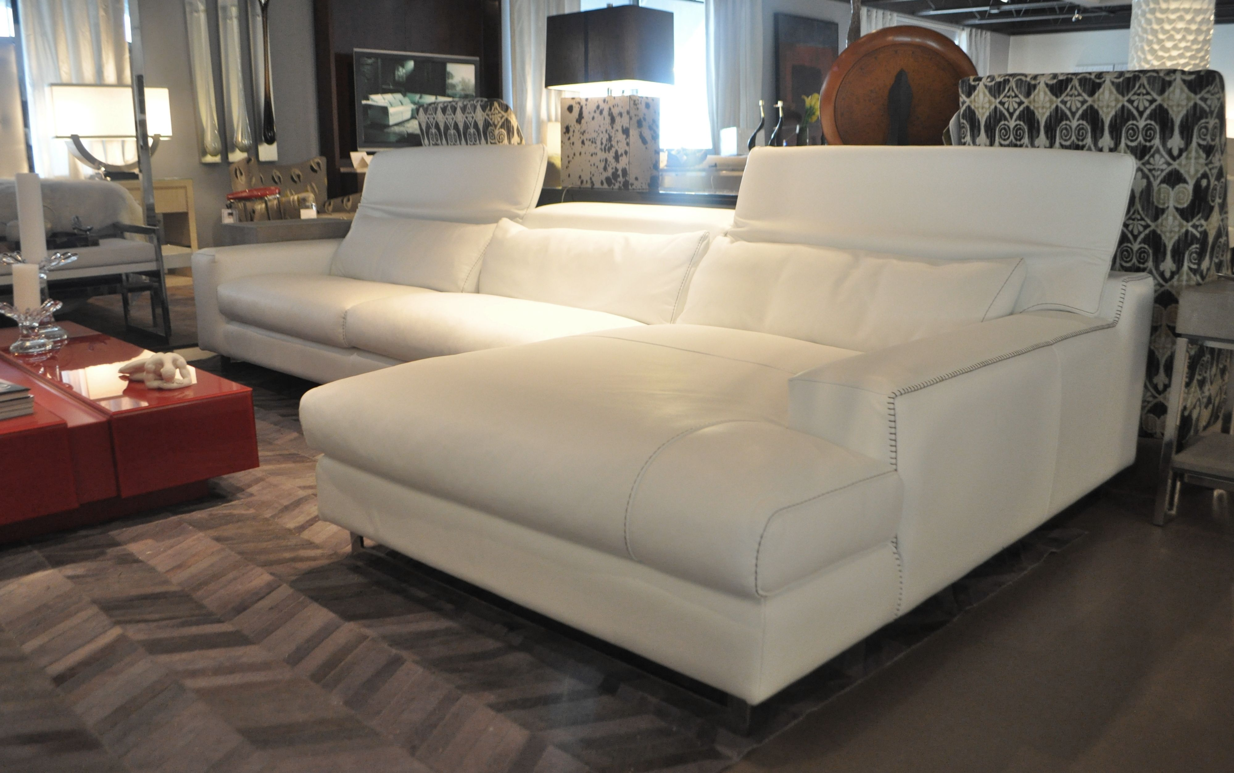White Leather Sectional   Home decor, Home, Apartment style