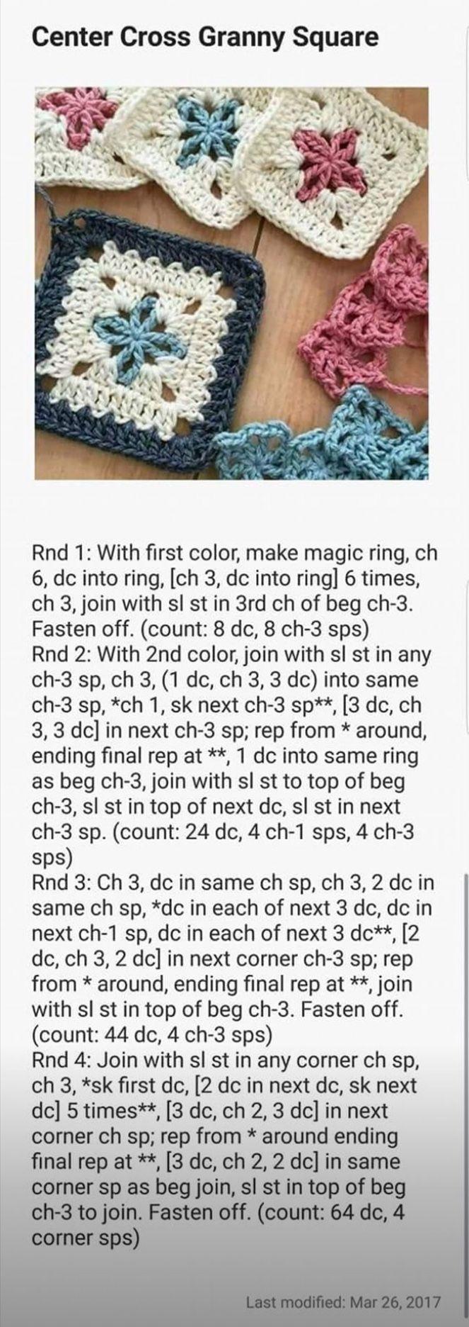Center Cross Granny Square | Crochet/Knitting/C2C/Needlepoint ...