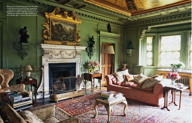 Rousham house main salon drawing room interieur