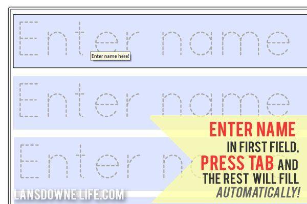 Preschool handwriting worksheet: FREE printable   Name ...