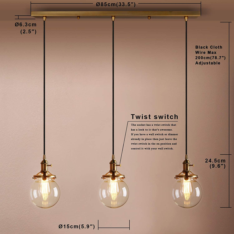 Pathson 3 Kugeln Retro Design Klar Glas Innen Pendelleuchte Hangeleuchte Vintage Industrie Loft Pendelleuchte Hange Pendelleuchte Beleuchtung Decke Deckenlampe