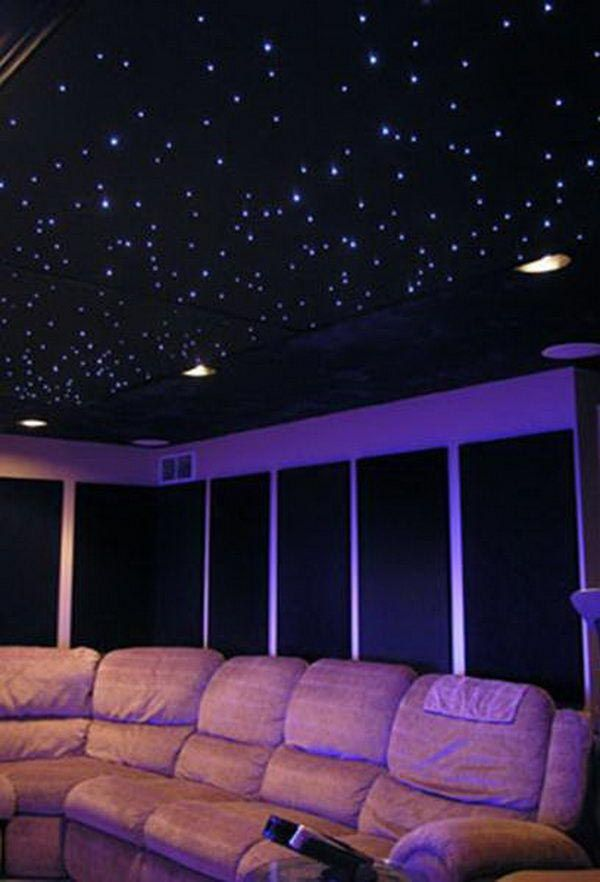 Stars on Ceiling Light | Home theater rooms, Basement ...