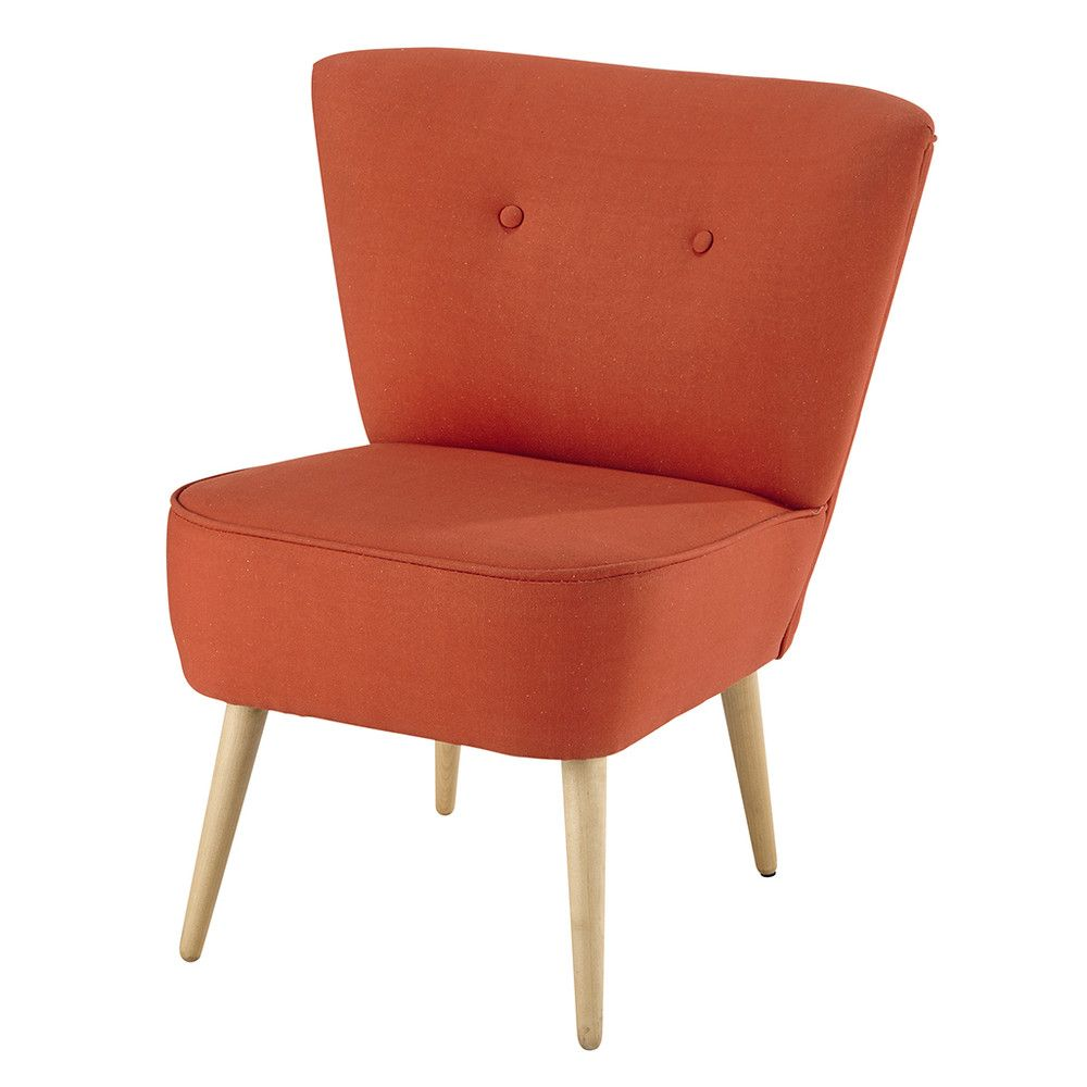 Cotton vintage armchair in coral Chairs Pinterest