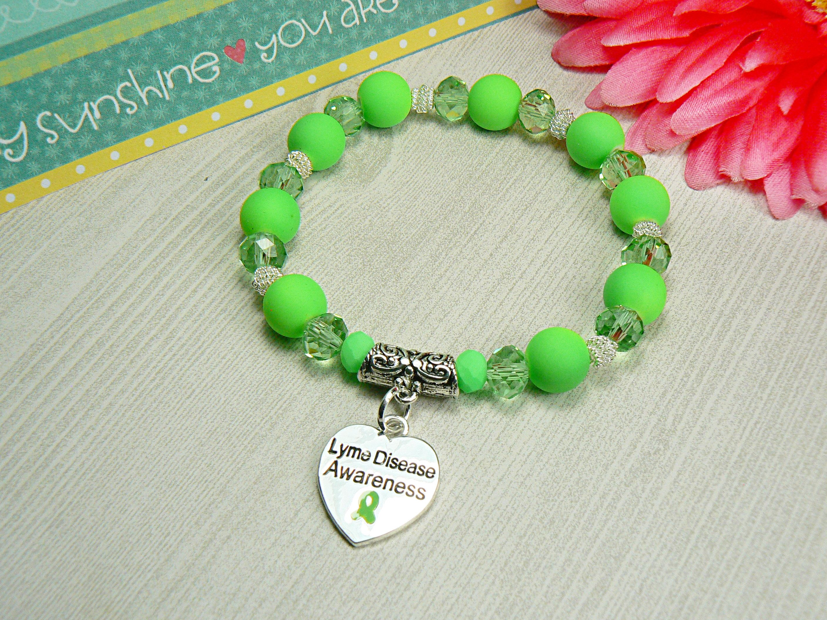 Lyme Disease Awareness Bracelet Lime Jewelry Hope Gift For Her By Hopeinbracelets On