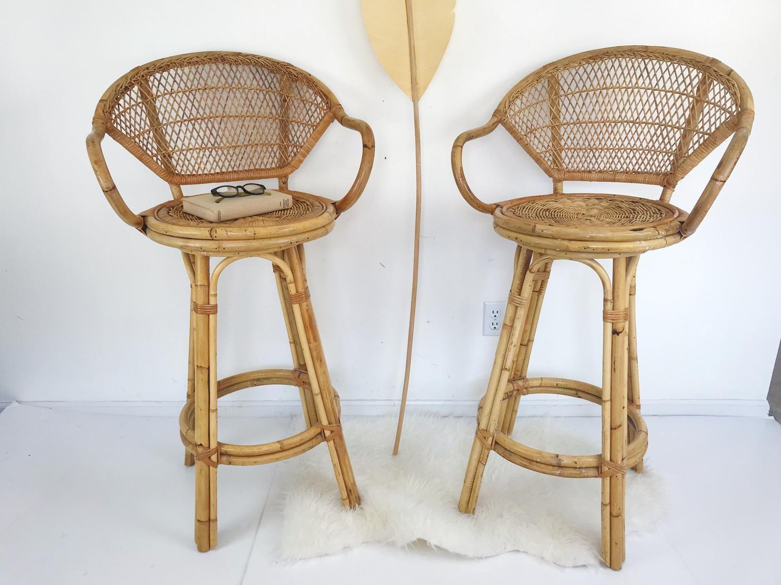Vintage Swivel Bar Stools Bamboo Rattan Franco Albini Style Etsy In 2020 Swivel Bar Stools Bar Stools Rattan Bar Stools