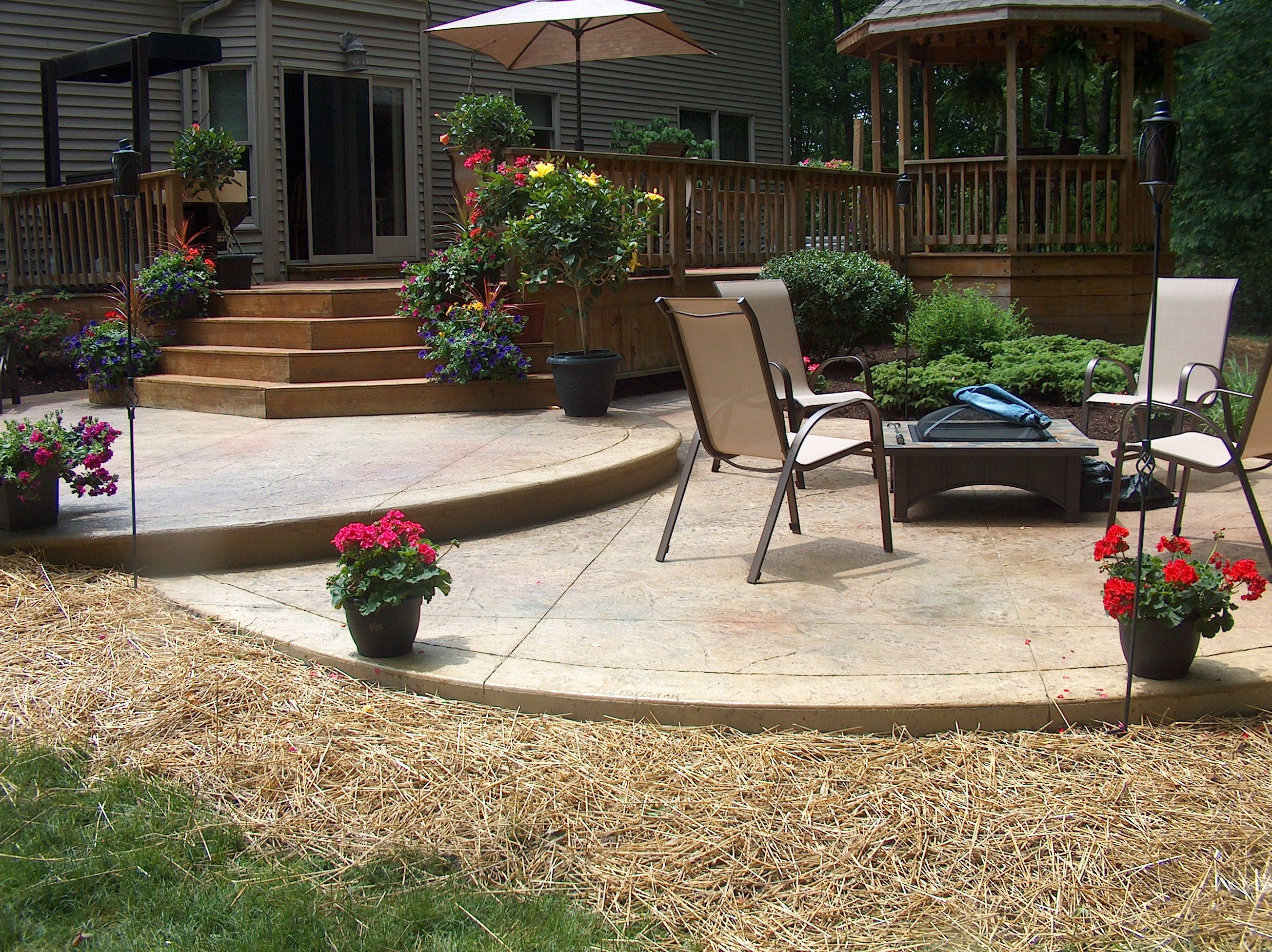Tiered stamped concrete patio on Tiered Patio Ideas id=82531