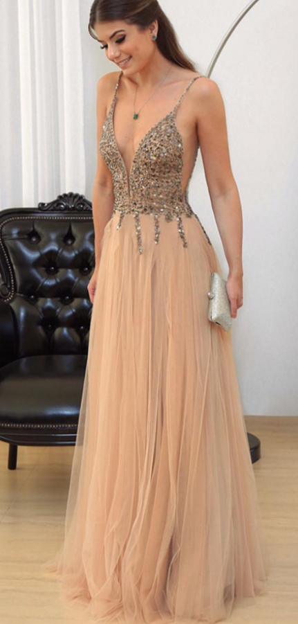 Cheap prom dresses Champagne Prom Dress, V-neck Evening Gowns,Tulle ...
