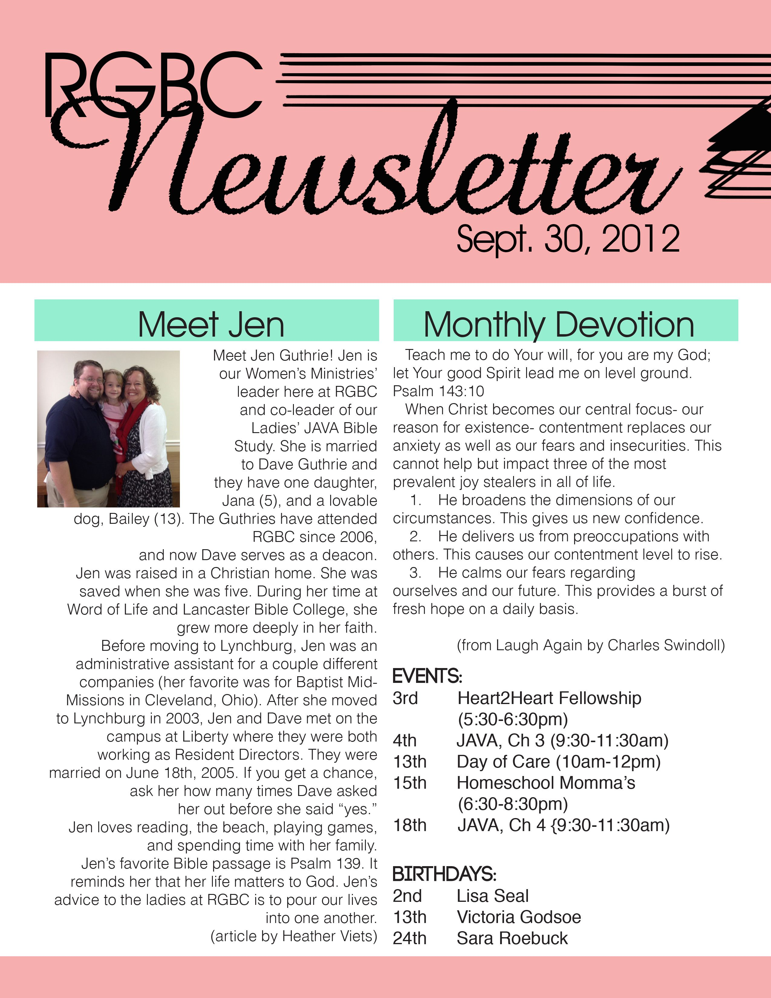 women's+ministry+brochure+examples | newsletter i made for the