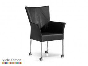 bonny stuhl esszimmerstuhl konferenzstuhl mit armlehnen auf rollen leder edelstahl hvs. Black Bedroom Furniture Sets. Home Design Ideas