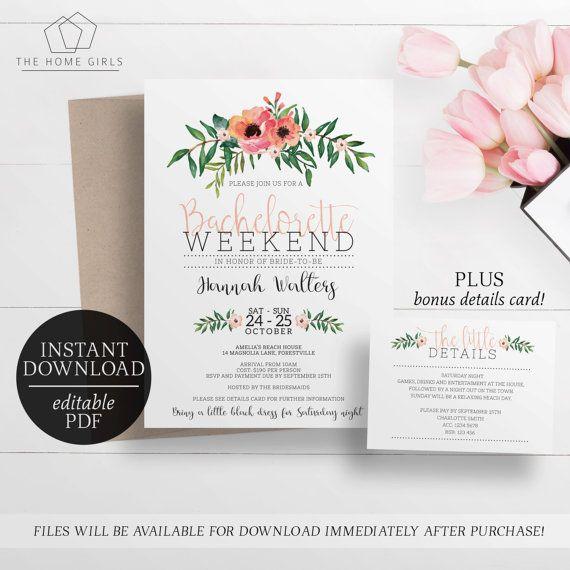 Printable Bachelorette Weekend Invitation   Editable Template - invitation unveiling